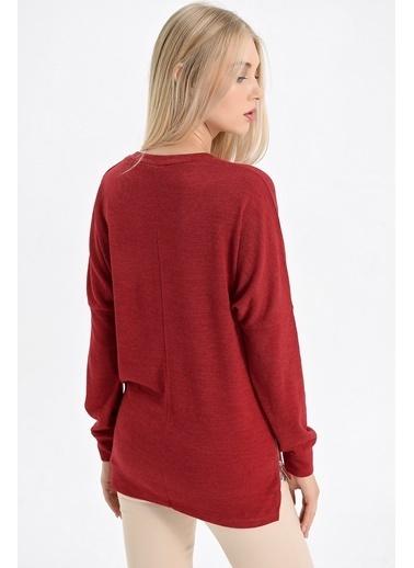 Jument Alba V Yaka Yan Fermuarlı Uzun Kol Bluz Kırmızı